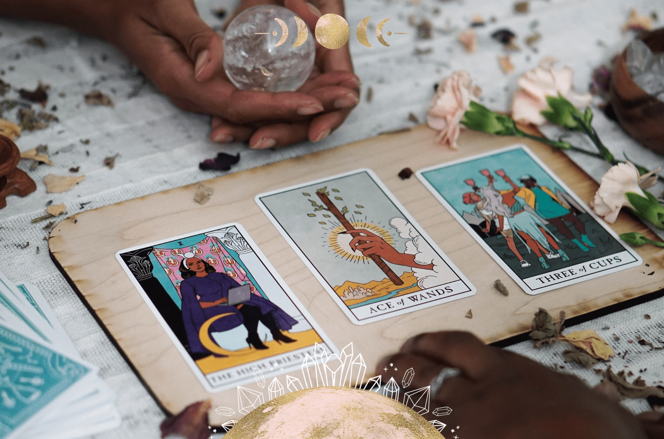 Crystals for tarot and oracle card readings